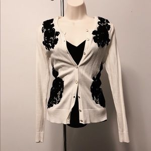 White w/black Lace cardigan